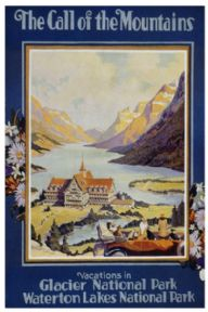 Vintage Travel Poster Glacier National Park, USA